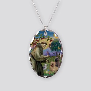 St Francis / Cairn Terrier Necklace Oval Charm