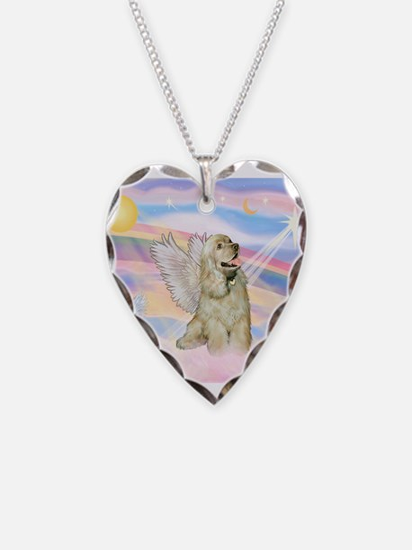 Cocker Spaniel Angel (Buff) Necklace Heart Charm