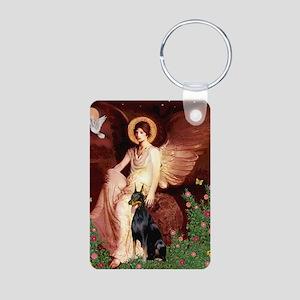 Seated Angel & Dobie Aluminum Photo Keychain