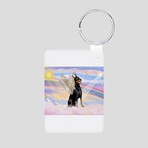Dobie Angel in Clouds Aluminum Photo Keychain