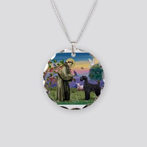 St Francis /G Schnauzer(blk) Necklace Circle Charm