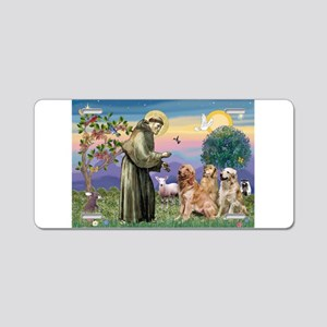 St Francis / 3 Goldens Aluminum License Plate