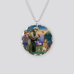 St Francis Golden Necklace Circle Charm