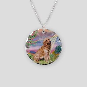 Cloud Angel / Golden Necklace Circle Charm