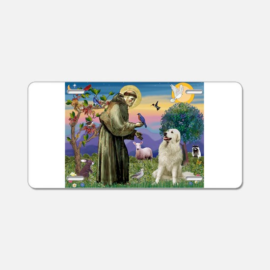 St Francis / Great Pyrenees Aluminum License Plate