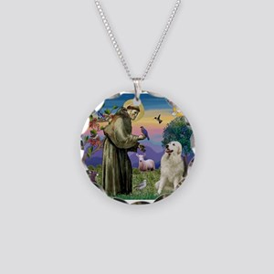 St Francis / Great Pyrenees Necklace Circle Charm