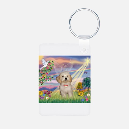 Cloud Angel /Havanese pup Aluminum Photo Keychain