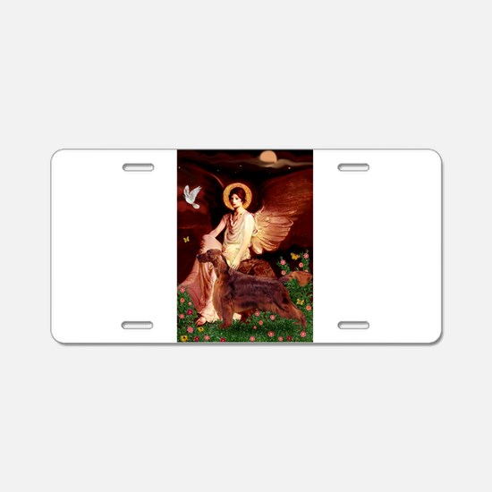 Seated Angel / Irish Setter Aluminum License Plate