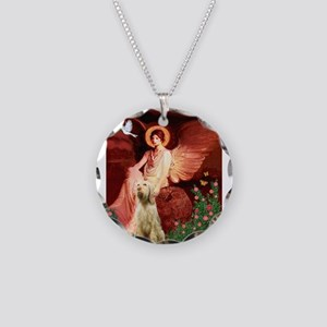 Seated Angel/Spinone Necklace Circle Charm