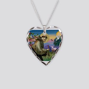 St Francis / Japanese Chin Necklace Heart Charm