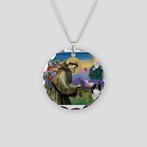 St Francis / Japanese Chin Necklace Circle Charm