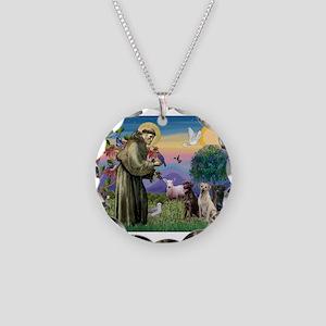 St Francis & Lab Trio Necklace Circle Charm