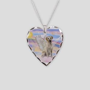 Angel Labrador Necklace Heart Charm