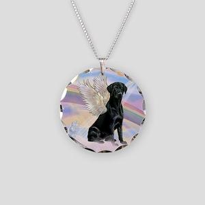 Black Lab Angel Necklace Circle Charm