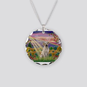 Autumn Angel / Lab (y) Necklace Circle Charm