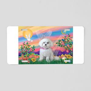 Guardian Angel / Maltese pup Aluminum License Plat