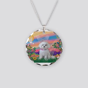 Guardian Angel / Maltese pup Necklace Circle Charm