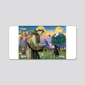 St. Francis & Min Pin Aluminum License Plate