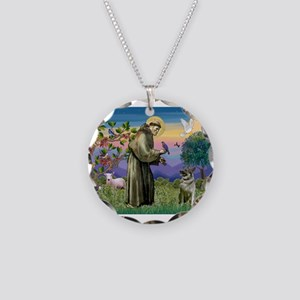 St Francis / Nor Elk Necklace Circle Charm