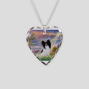 Cloud Angel & Papillon Necklace Heart Charm