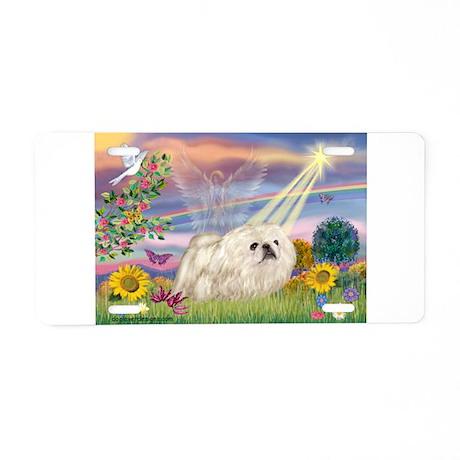 Cloud Angel / Pekingese (w) Aluminum License Plate