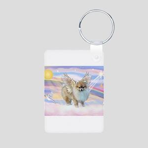Pomeranian / Angl (s&w) Aluminum Photo Keychai