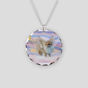 Pomeranian / Angl (s&w) Necklace Circle Charm