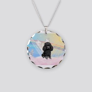 Angel/Poodle(blk Toy/Min) Necklace Circle Charm