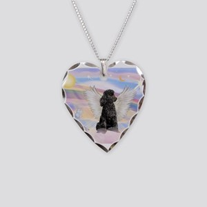 Angel/Poodle (blk Toy/Min) Necklace Heart Charm
