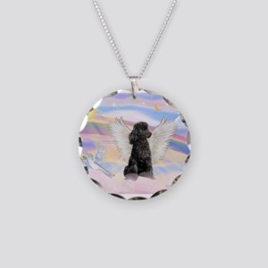 Angel/Poodle (blk Toy/Min) Necklace Circle Charm