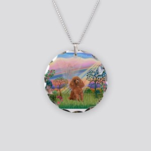 Cloud Angel/Poodle (Apricot) Necklace Circle Charm