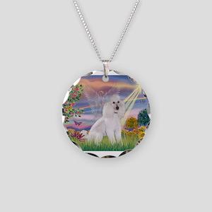 Cloud Angel /Poodle std (w) Necklace Circle Charm