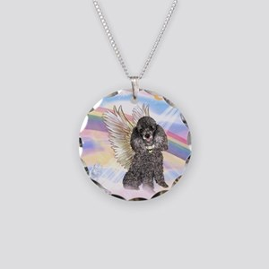 Silver Poodle Angel Necklace Circle Charm
