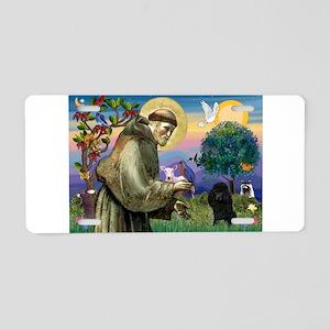 St Francis / Poodle(blk min) Aluminum License Plat