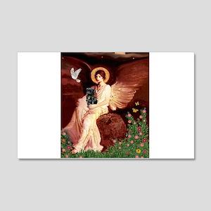 Seated Angel / Pug (blk) 22x14 Wall Peel