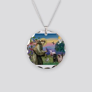 St. Francis & Pug Pair Necklace Circle Charm