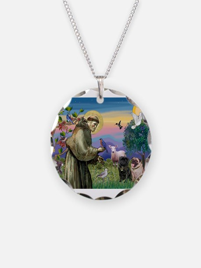 St. Francis & Pug Pair Necklace