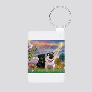 Cloud Angel & 2 Pugs Aluminum Photo Keychain