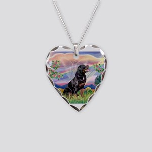 Cloud Angel / Rottweiler Necklace Heart Charm