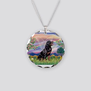 Cloud Angel / Rottweiler Necklace Circle Charm