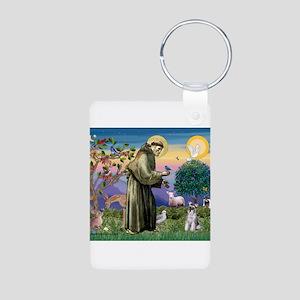 St Francis / Min Schnauzer (g Aluminum Photo Keych
