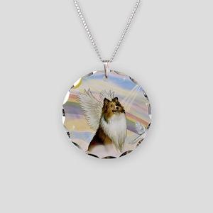 Sable Sheltie Angel Necklace Circle Charm