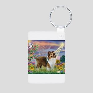 Cloud Angel & Sheltie Aluminum Photo Keychain