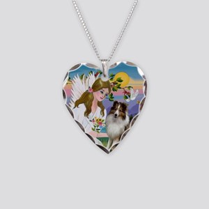 Angel (#2) & Sheltie Necklace Heart Charm