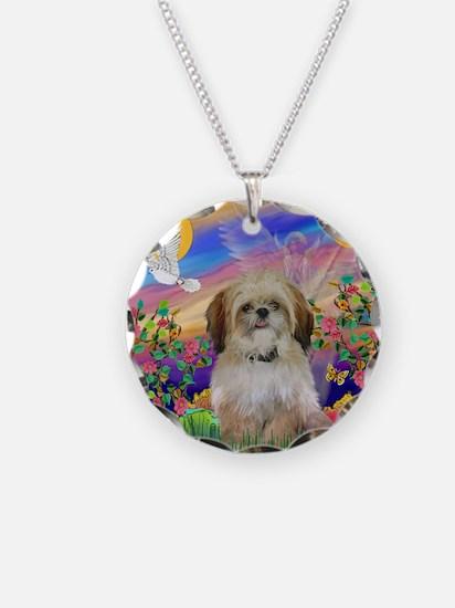 Cloud Angel / Shih Tzu Necklace Circle Charm