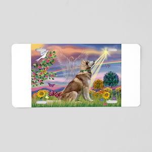 Cloud Angel & Husky Aluminum License Plate