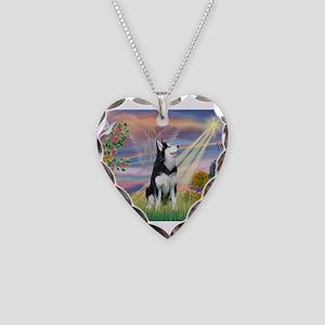 Cloud Angel / Siberian Husky Necklace Heart Charm