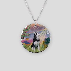 Cloud Angel / Siberian Husky Necklace Circle Charm
