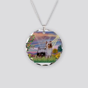 Cloud Angel / Silky Terrier Necklace Circle Charm