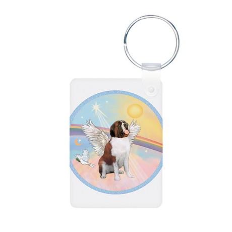 St. Bernard Angel Dog Aluminum Photo Keychain